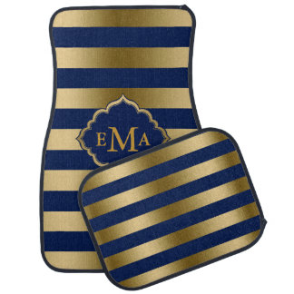 Monogrammed Gold And Blue Stripes Floor Mat