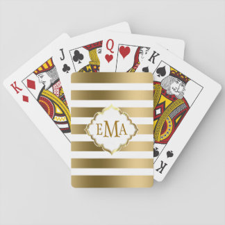 Monogrammed Gold And White Geometric Stripes Playing Cards
