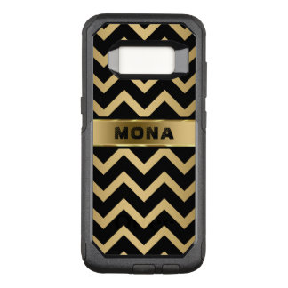 Monogrammed Gold Background And Black Chevron OtterBox Commuter Samsung Galaxy S8 Case