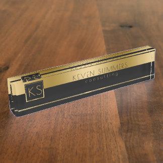 Monogrammed Gold & Black Modern Design Name Plate