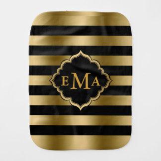 Monogrammed Gold & Black Stripes Geometric Pattern Burp Cloth