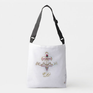 Monogrammed Gold Cross & Red Rose Crossbody Bag