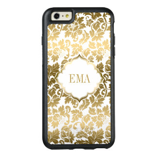 Monogrammed Gold Damask Texture OtterBox iPhone 6/6s Plus Case