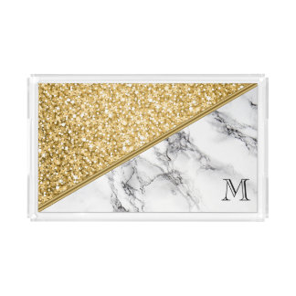 Monogrammed Gold Glitter And Black Gray Marble Acrylic Tray