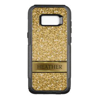 Monogrammed Gold Glitter And Stripe OtterBox Commuter Samsung Galaxy S8+ Case