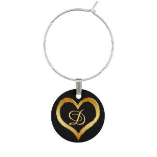 Monogrammed Gold Heart Wine Charm