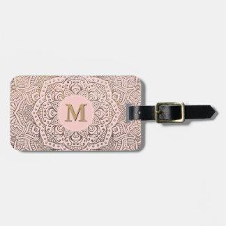 Monogrammed Gold Mandala   Blush Pink Boho Bag Tag