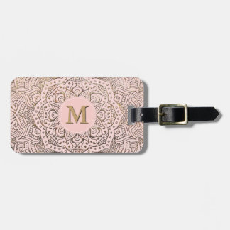 Monogrammed Gold Mandala | Blush Pink Boho Luggage Tag