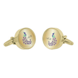 Monogrammed Gold Peacock Design Gold Finish Cuff Links