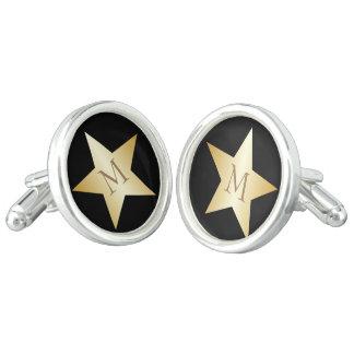 Monogrammed Gold Star Design Cufflinks