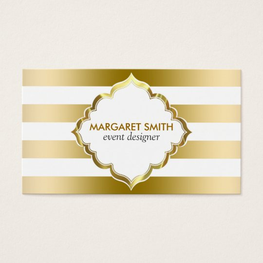 Monogrammed Gold Stripes Geometric Pattern Business Card
