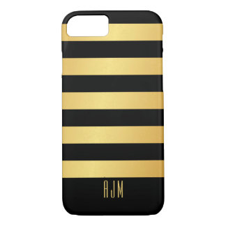 Monogrammed Gold Stripes On Black Background iPhone 8/7 Case