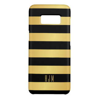 Monogrammed Gold Stripes Over Black Background Case-Mate Samsung Galaxy S8 Case
