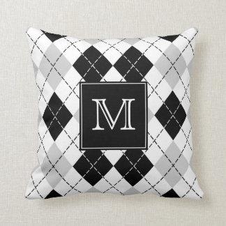 Monogrammed Gray Black and White Argyle Cushion