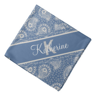 Monogrammed Gray Paisley French Blue Bandana