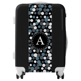 Monogrammed Gray Polka Dot Luggage