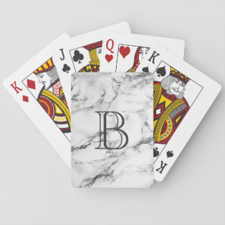 Monogrammed Gray & White Marble Texture Playing Cards
