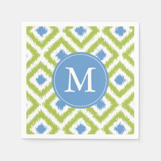 Monogrammed Green and Blue Ikat Diamonds Pattern Paper Napkin