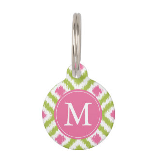 Monogrammed Green and Pink Ikat Diamonds Pattern Pet Name Tag