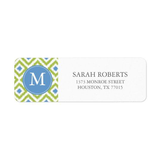 Monogrammed Green Blue Ikat Pattern Return Address Label