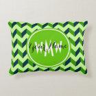 Monogrammed Green Chevron Patchwork Pattern Decorative Cushion
