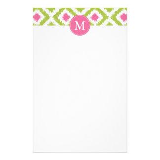 Monogrammed Green Pink Diamonds Ikat Pattern Stationery