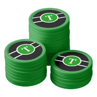 Monogrammed ~ Green Poker Chips