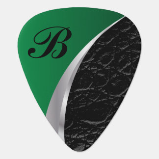 Monogrammed Green Silver and Black Leather Guitar Pick