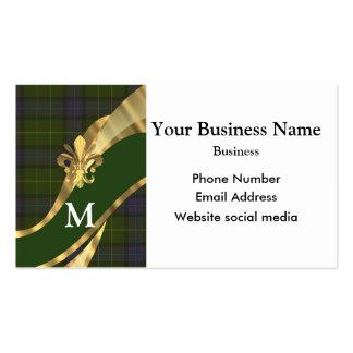 Monogrammed green tartan plaid pattern business cards