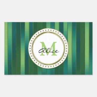 Monogrammed Green Tone Striped Pattern Rectangular Stickers