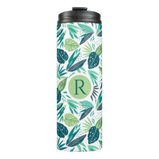 Monogrammed Green Tropical Leafs Pattern Thermal Tumbler