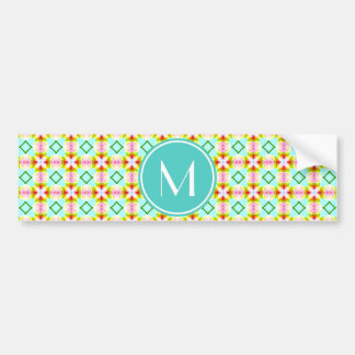Monogrammed Green Turquoise Girly Diamonds Pattern Bumper Stickers