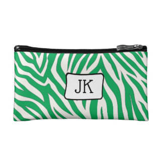 Monogrammed Green zebra striped cosmetic bag