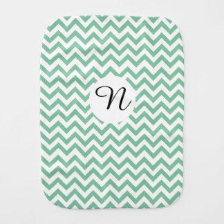 Monogrammed Green Zigzag Unisex Burp Cloth
