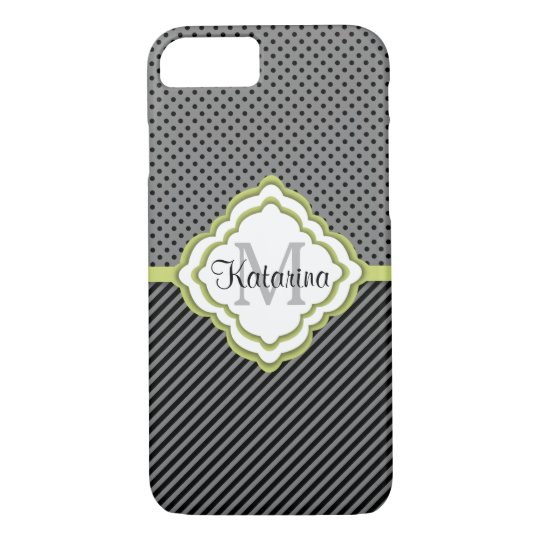 Monogrammed,  Grey and Lime Patterned, Modern iPhone 8/7 Case