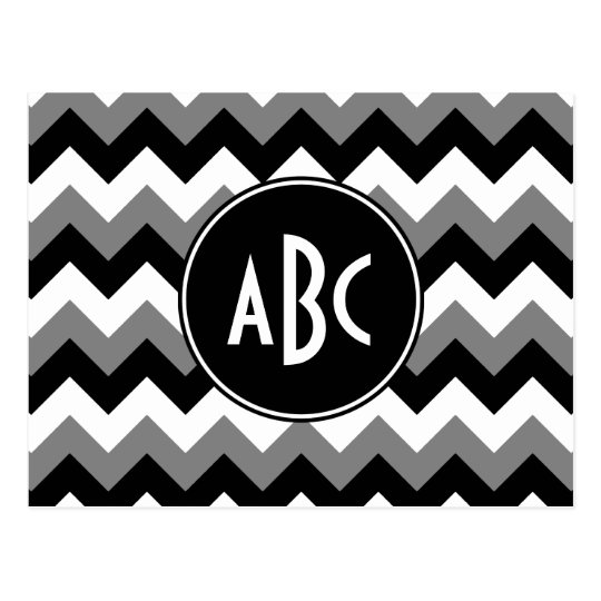 Monogrammed Grey Black and White Zigzag Postcard