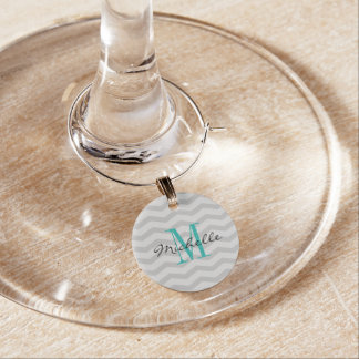 Monogrammed grey chevron pattern wine glass charms