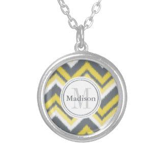 Monogrammed Grey Yellow Ikat Chevron Pattern Custom Jewelry