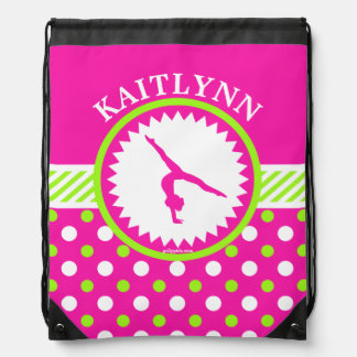 Monogrammed Gymnastics Pink and Green Polka-Dots Drawstring Bag