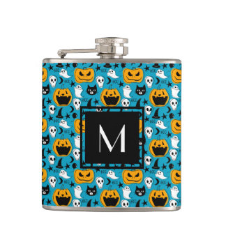 Monogrammed Halloween Creatures Illustration Hip Flask