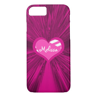 Monogrammed Heart and Magenta Satin iPhone 8/7 Case