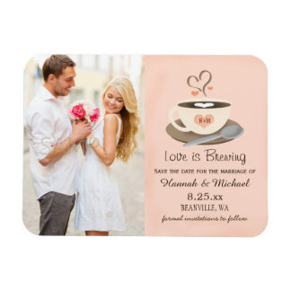 Monogrammed Heart Blush Coffee Cup Save the Date Rectangular Photo Magnet