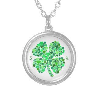 Monogrammed Heart-Filled Four-Leaf Clover Round Pendant Necklace