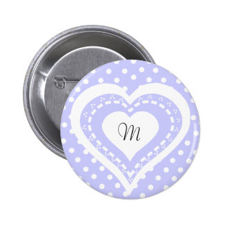 Monogrammed Heart Lilac & white polka dots pattern 6 Cm Round Badge