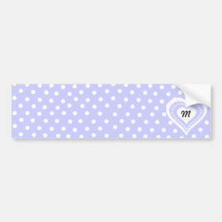 Monogrammed Heart Lilac & white polka dots pattern Car Bumper Sticker