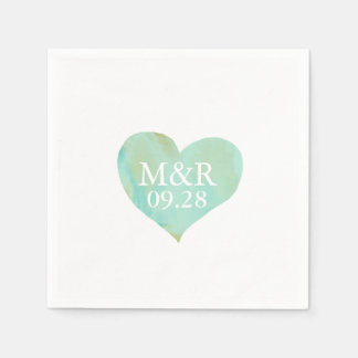 monogrammed heart wedding disposable serviettes