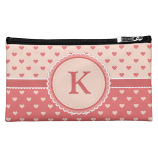 Monogrammed hearts cosmetic bag