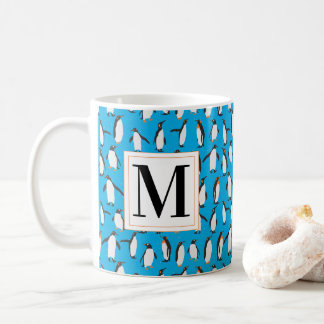 Monogrammed Holiday Penguins Coffee Mug