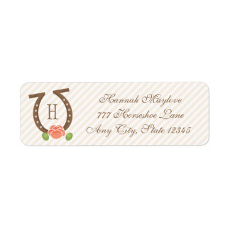 MONOGRAMMED HORSESHOE AND ROSE RETURN ADDRESS RETURN ADDRESS LABEL