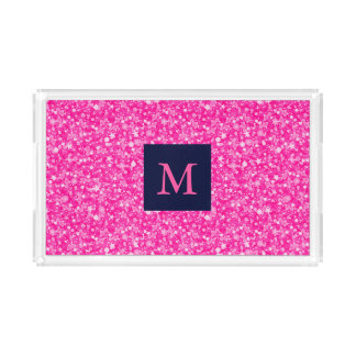 Monogrammed Hot Pink Glitter White Sparks Acrylic Tray